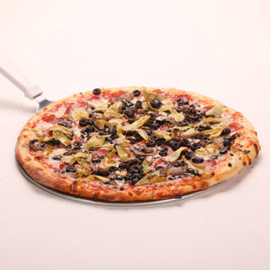 Artichokes, Mushrooms, Black Olives & Canadian Bacon